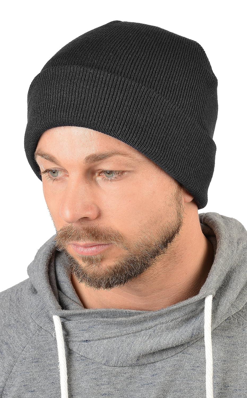Herren Strickmütze, Wintermütze in schwarz, Skimütze - doppellagig gestrickt