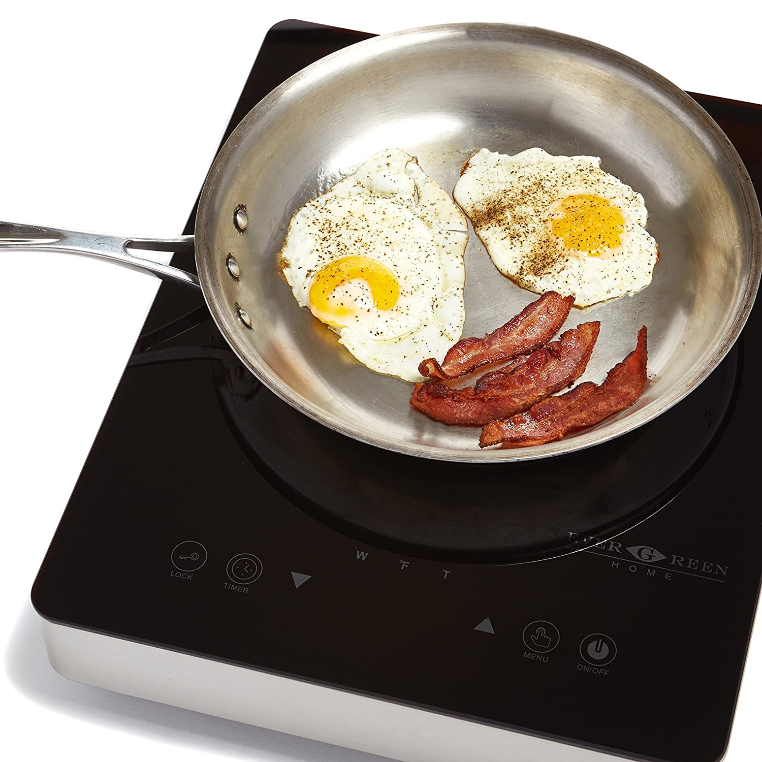 Evergreen Home 1800W Digital Induction Cooktop | Portable Countertop Burner-Easy To Clean (silver)