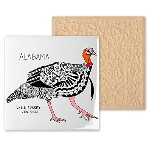 Zentangle Ceramic Coaster coaster Decorative Artwork Alabama Wild Turkey Ceramic Tile State Symbols