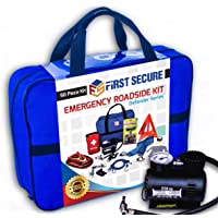$64 » First Secure Car Emergency Kit with Roadside Assistance Jumper Cables Portable Air…
