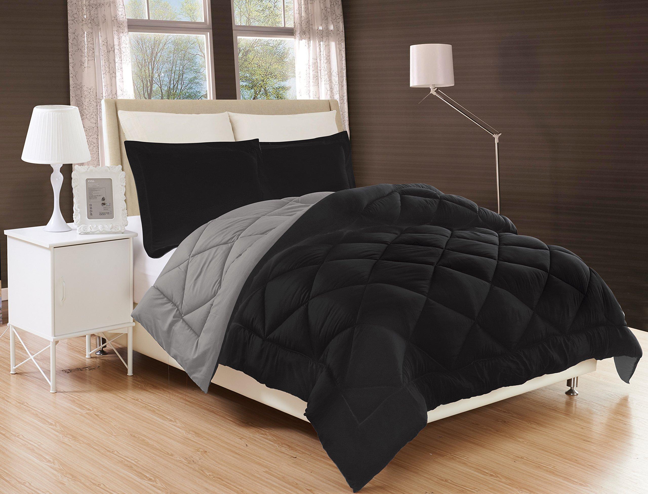 Hotel Luxury All Season Light Weight Down Alternative Reversible 3-Piece Comforter Set - HypoAllergenic, Diamond Stitched, … (Black/Grey, Queen)