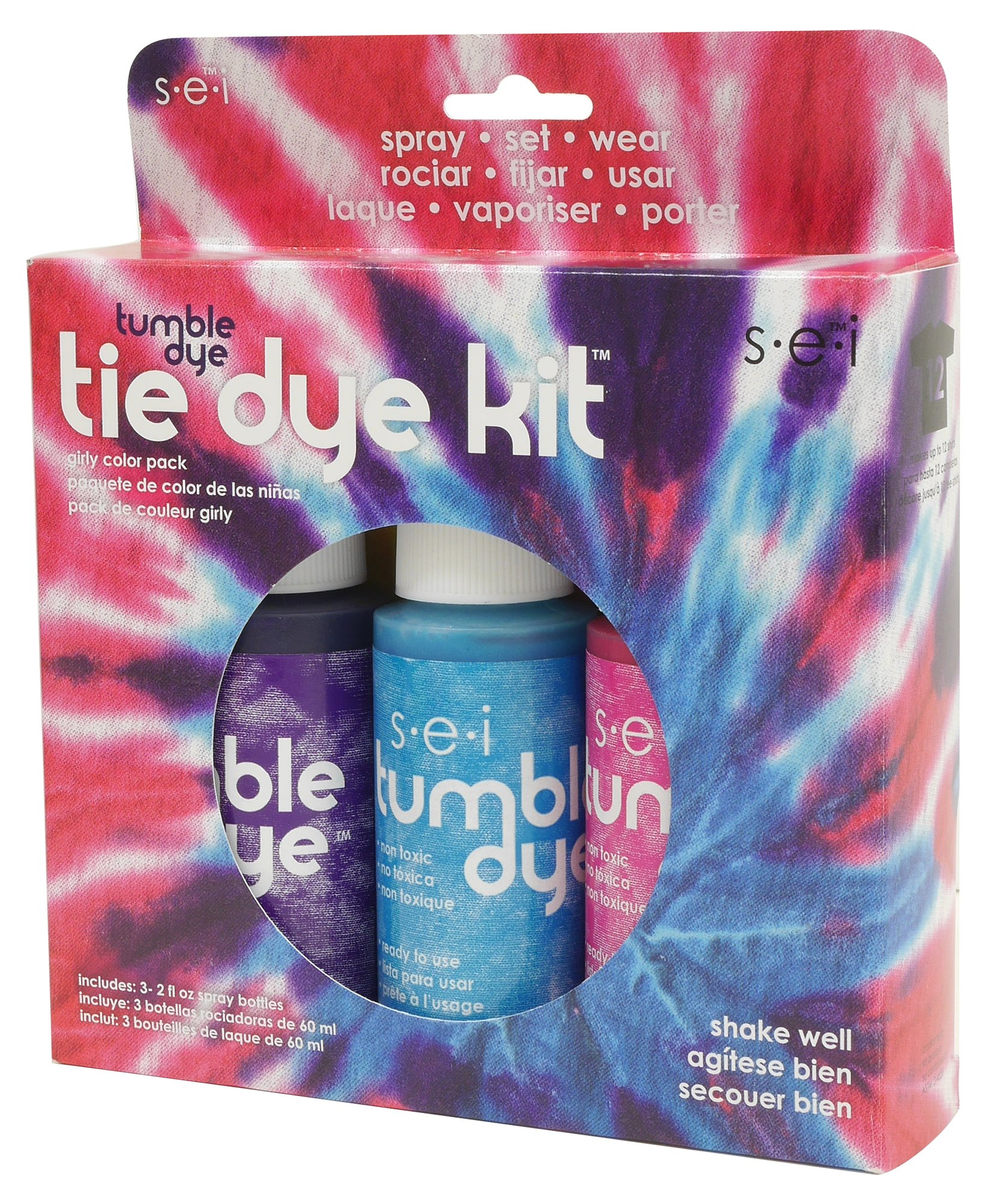 SEI Tie-Dye Tumble-Dye, Girly-Girl Kit with Idea Book, 3-Pack