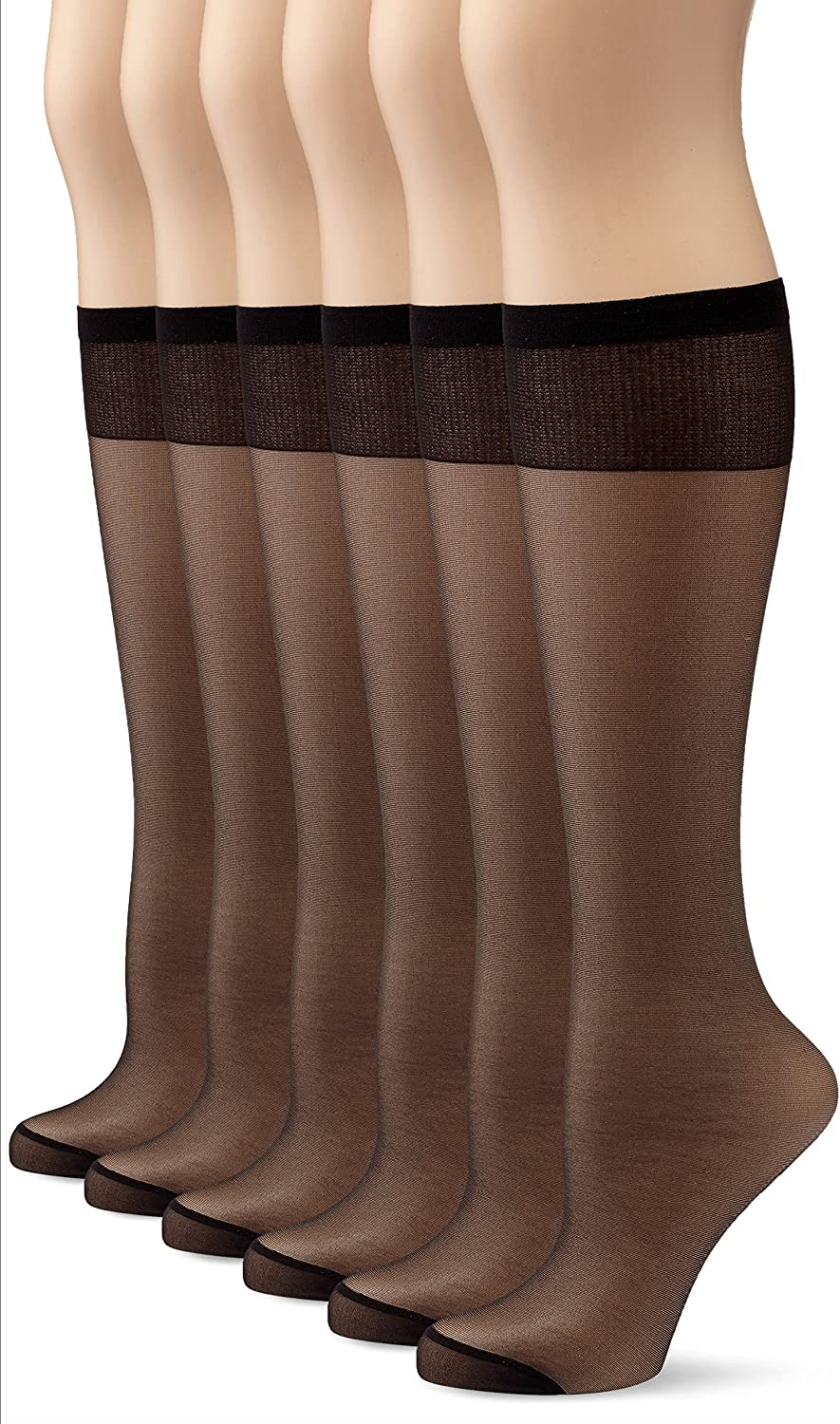 MyWay Womens Full-Fashioned Knee-High Socks 15 DEN Pack of 6