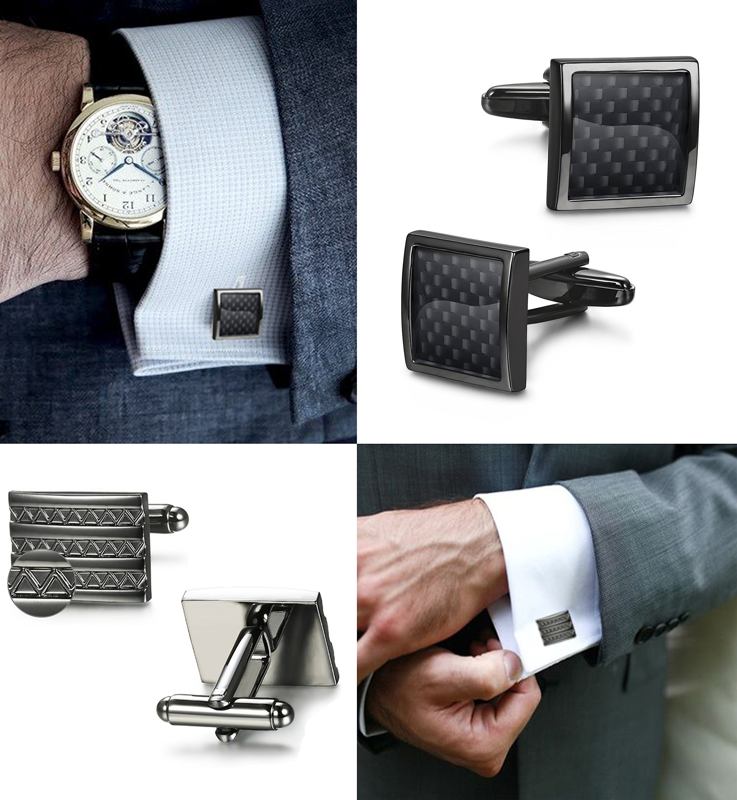 FIBO STEEL Class Cufflinks for Men Black Unique Wedding Cufflink Set Mens Dad Birthday Gifts by FIBO STEEL (Image #5)
