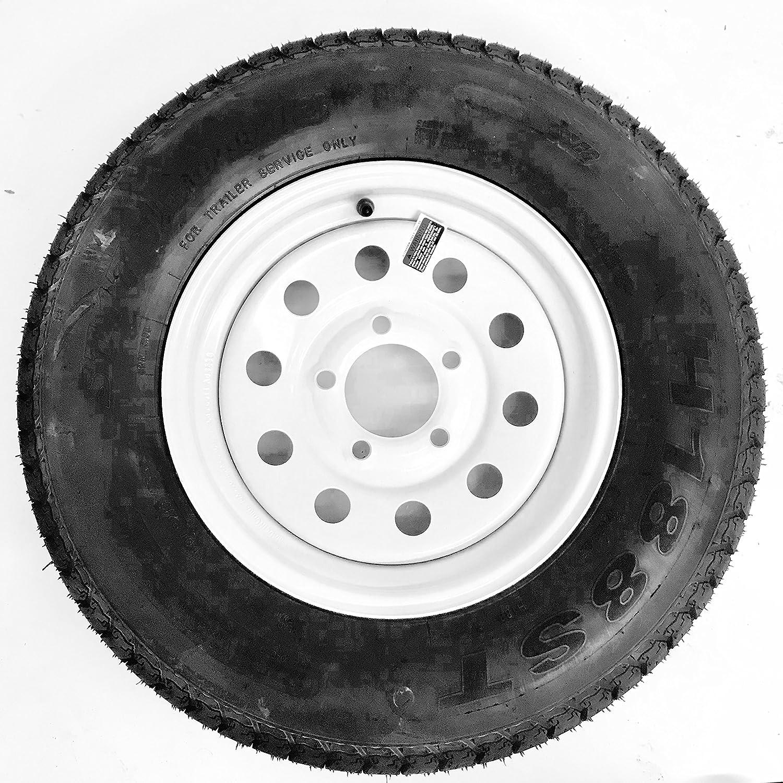 ST175/80D13 Loadstar Trailer Tire LRB on 5 Bolt White Mod Wheel Kenda