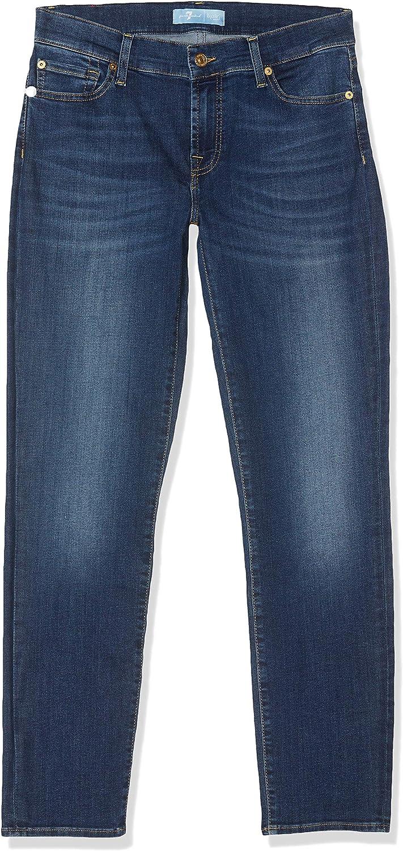 7 For All Mankind Damen Mid Rise Roxanne Crop Slim Jeans Blau (Mid Blue Da)