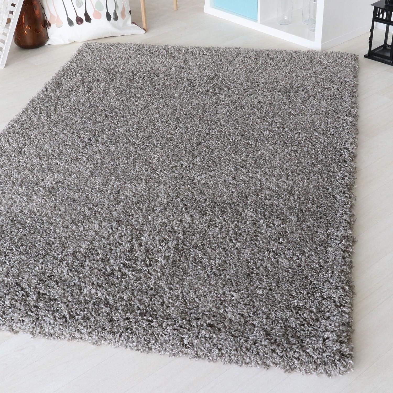 Mynes Home Shaggy Teppich Hochflor Langflor meliert in versch. Farben und Größen. Wohnzimmerteppiche 2-Farbiger Doppelgarn (160 x 230 cm, Grau)