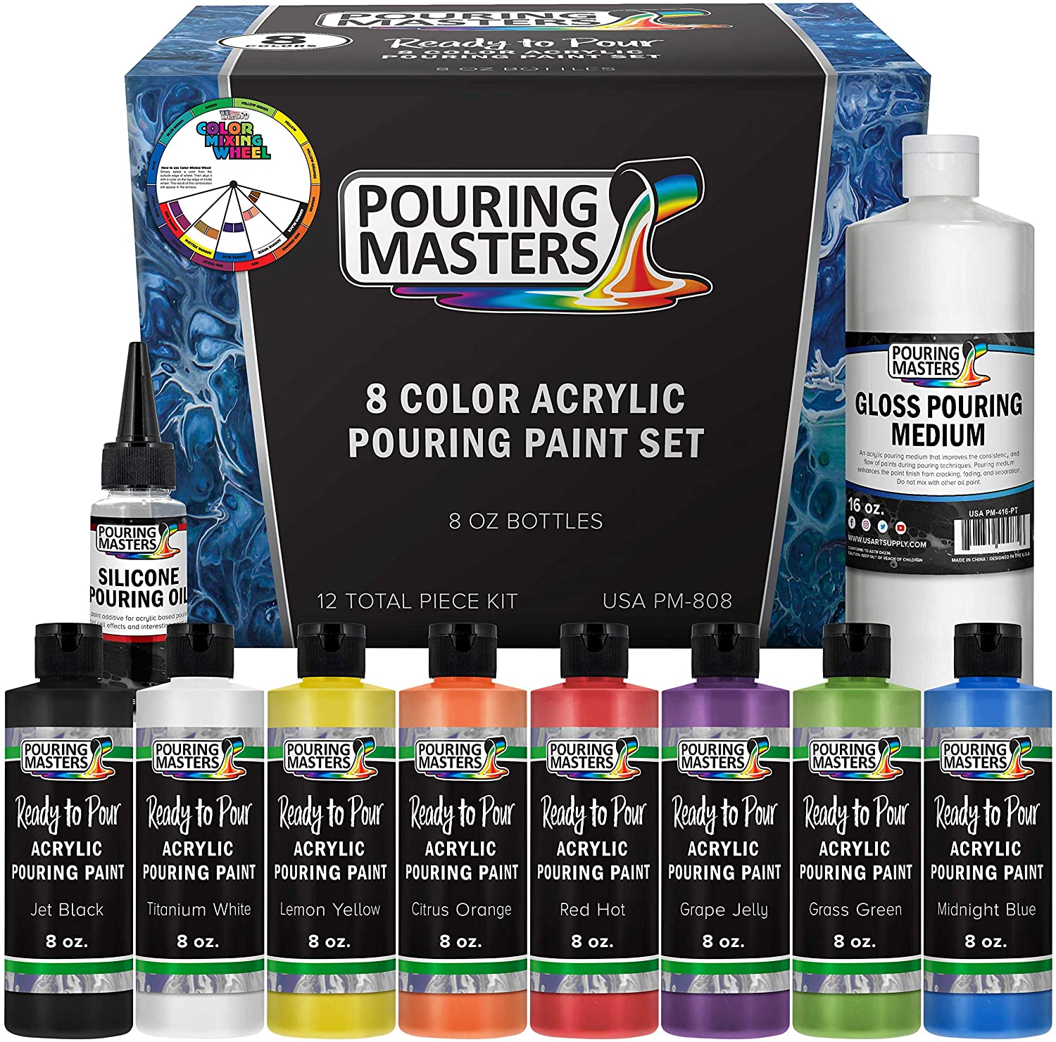 Amazon Com Pouring Masters 8 Color Ready To Pour Acrylic Pouring Paint Set Premium Pre Mixed High Flow 8 Ounce Bottles For Canvas Wood Paper Crafts Tile Rocks And More