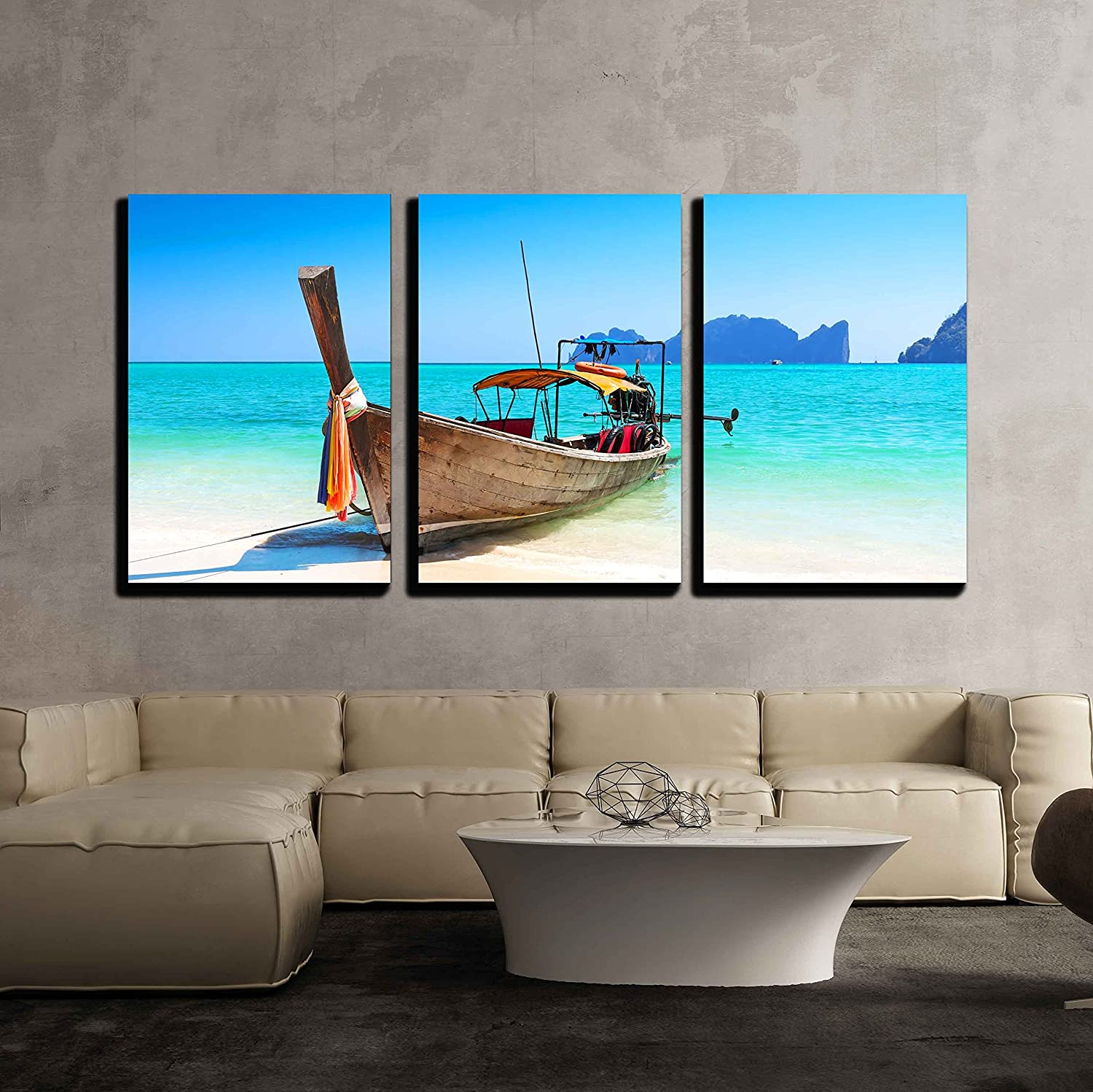 wall26 3 Piece Canvas Wall Art Long Boat and Tropical Beach