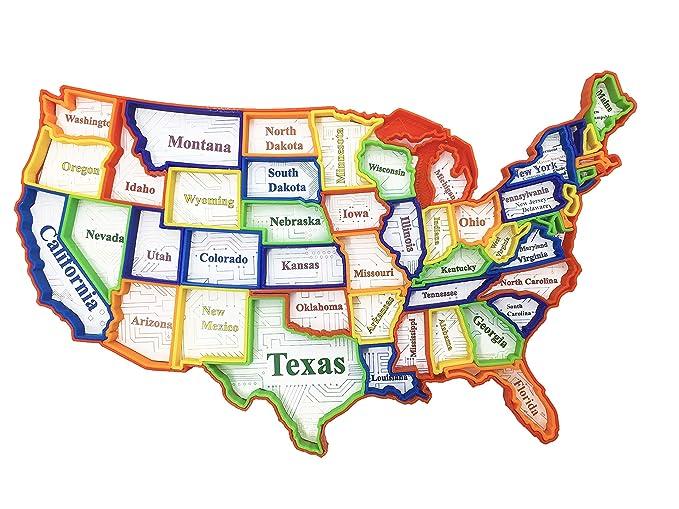Amazon.com: USA (United States) Puzzle Map, 50 Pieces, Educational ...