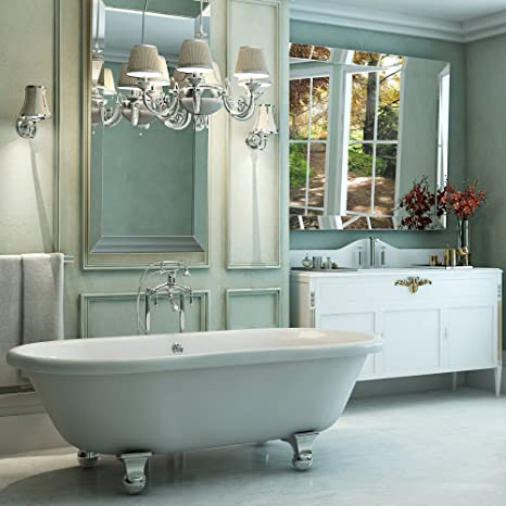 . Luxury 72 inch Large Modern Clawfoot Tub in White with Stand Alone