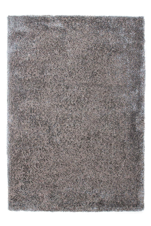 Lalee  347131013  Designer Hochflor Shaggy Teppich   Handarbeit   Uni   Weicher Langflor   Edel   Silber   Grösse   160 x 230 cm