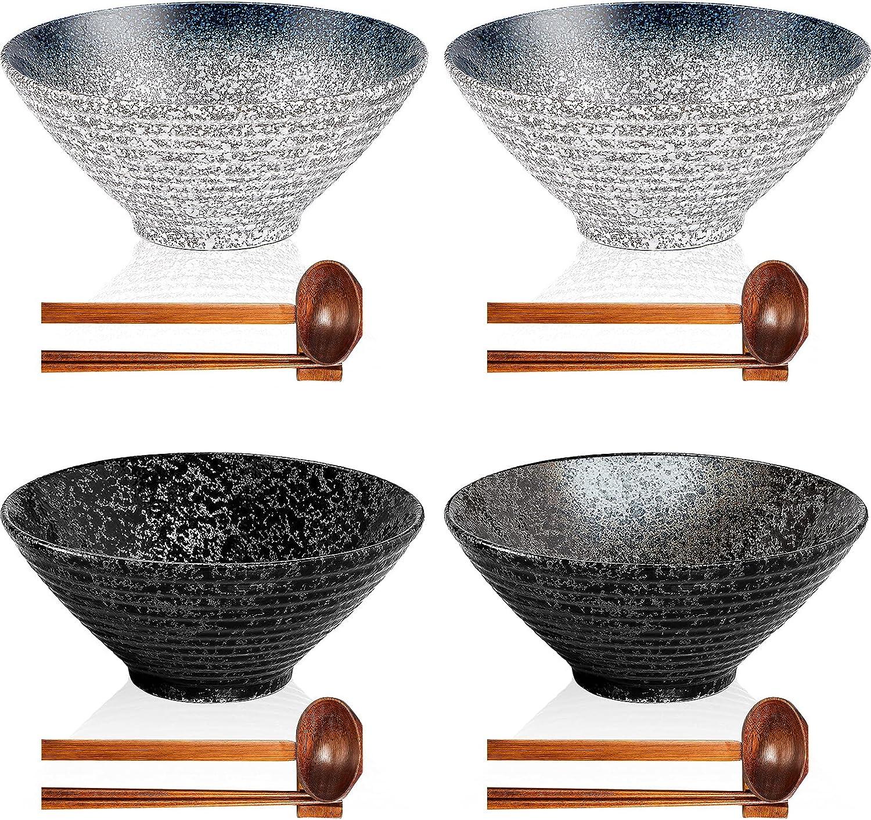 4 Sets Ceramic Ramen Bowls Set Japanese Ramen Noodle Soup Bowls 30 oz Deep Retro Pho Porcelain Bowls with Spoons, Chopsticks and Chopstick Holders for Soup, Cereal, Rice, Asian Pho Udon Soba