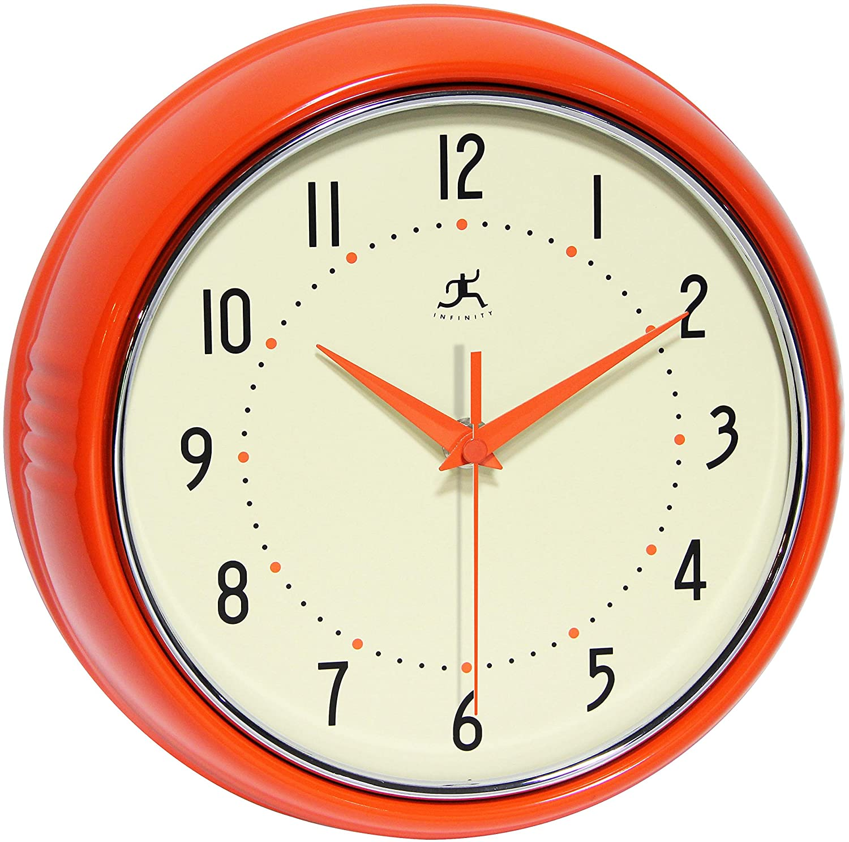 Infinity Instruments Orange Retro 9.5-Inch Metal Wall Clock