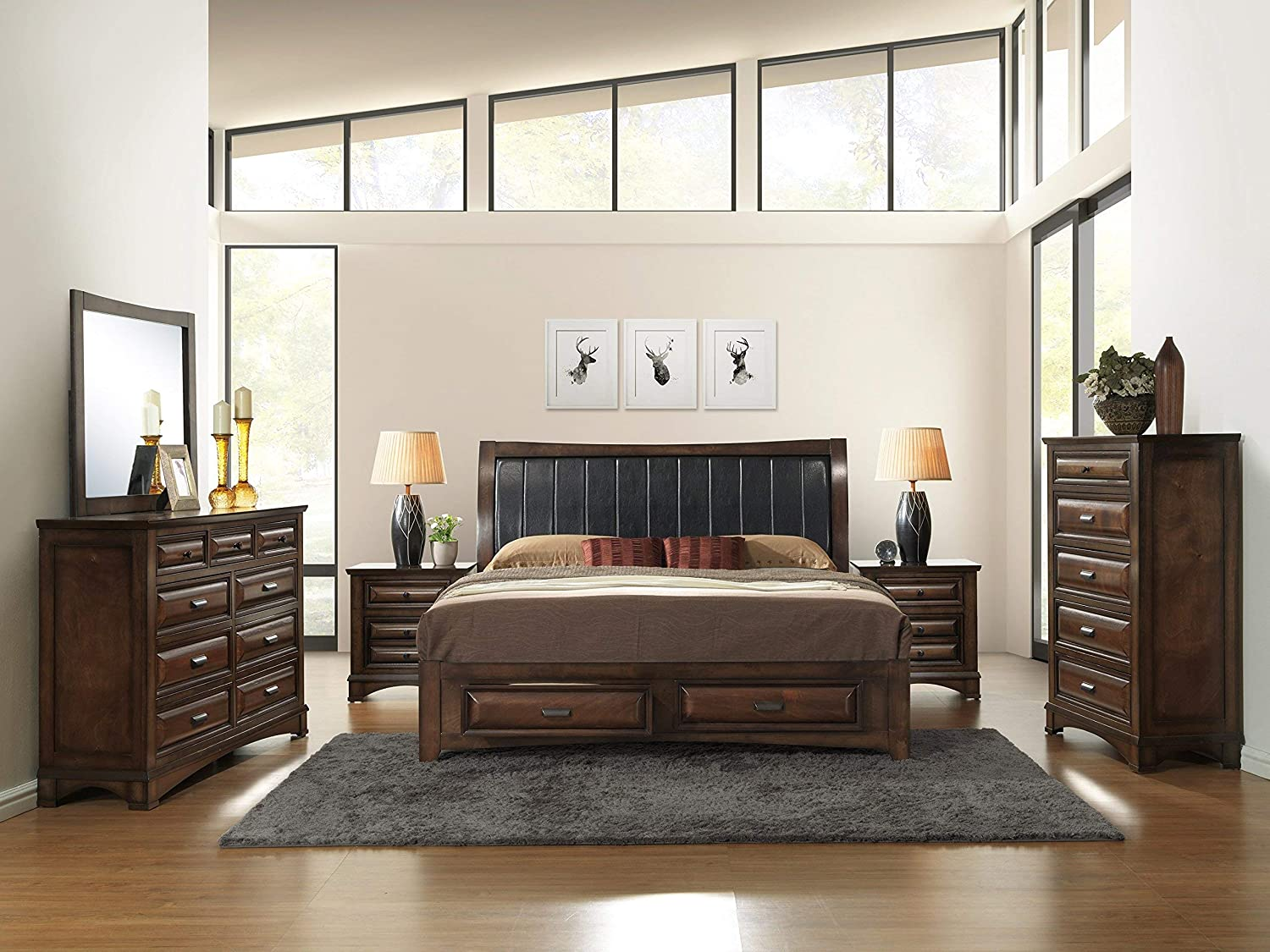 Amazon Com Roundhill Furniture Broval 179 Light Espresso Finish Queen Storage Bed Dresser Mirror 2 Night Stands Chest Wood Bed Room Set Furniture Decor