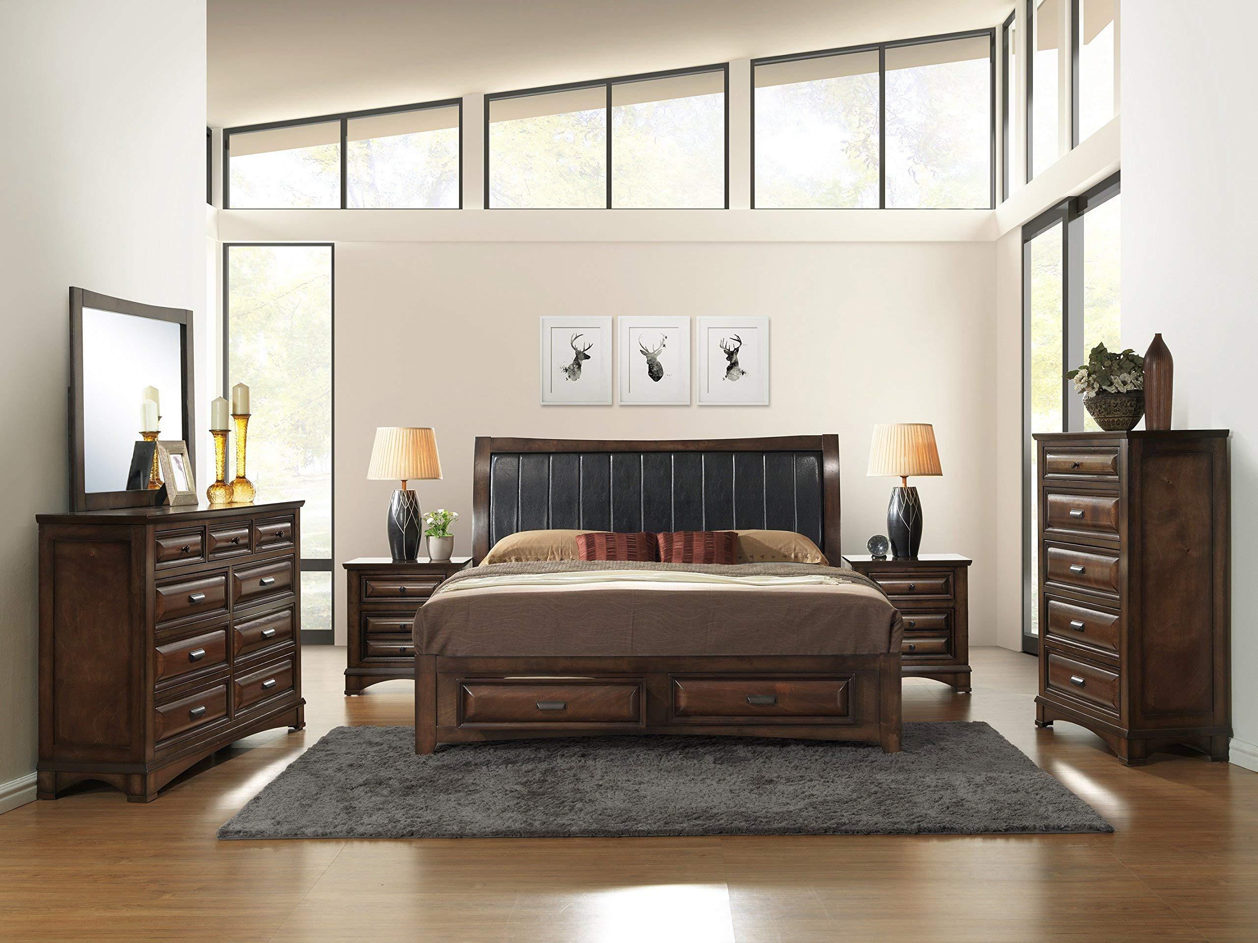 Roundhill Furniture Broval 179 Light Espresso Finish Queen Storage Bed, Dresser, Mirror, 2 Night Stands, Chest Wood Bed Room Set by Roundhill Furniture