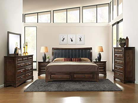 Awe Inspiring Roundhill Furniture B179Qdmn2C Broval 179 Light Espresso Finish Queen Storage Bed Dresser Mirror 2 Night Stands Chest Wood Bed Room Set Beutiful Home Inspiration Cosmmahrainfo