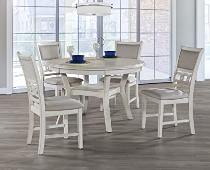 New Classic Gia Round 5 Piece Dining Set, Bisque