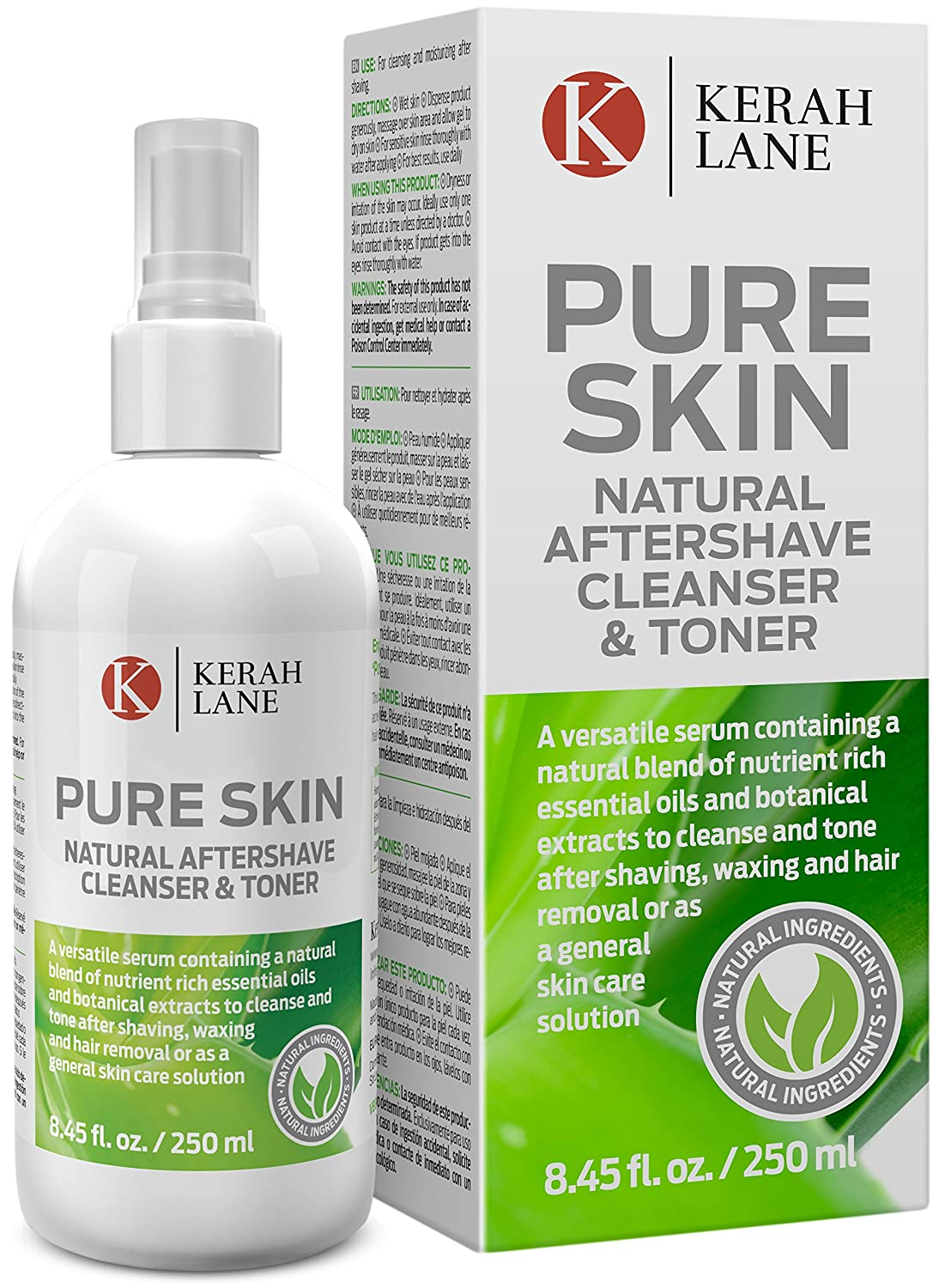 Kerah Lane Pure Skin - Natural Toner & Cleanser for Treatment of Ingrown Hairs, Acne & Razor Bumps. Use After Shaving, Waxing & Hair Removal or as a General Skin Care Solution for Women & Men 8.45oz KLPS1