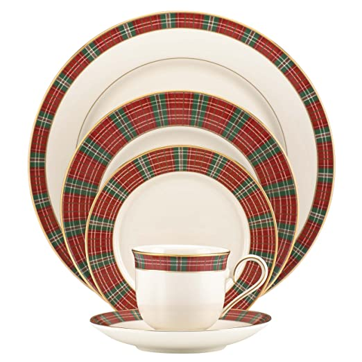 Christmas Tablescape Decor - Lenox Winter Greetings plaid china 5-piece place setting