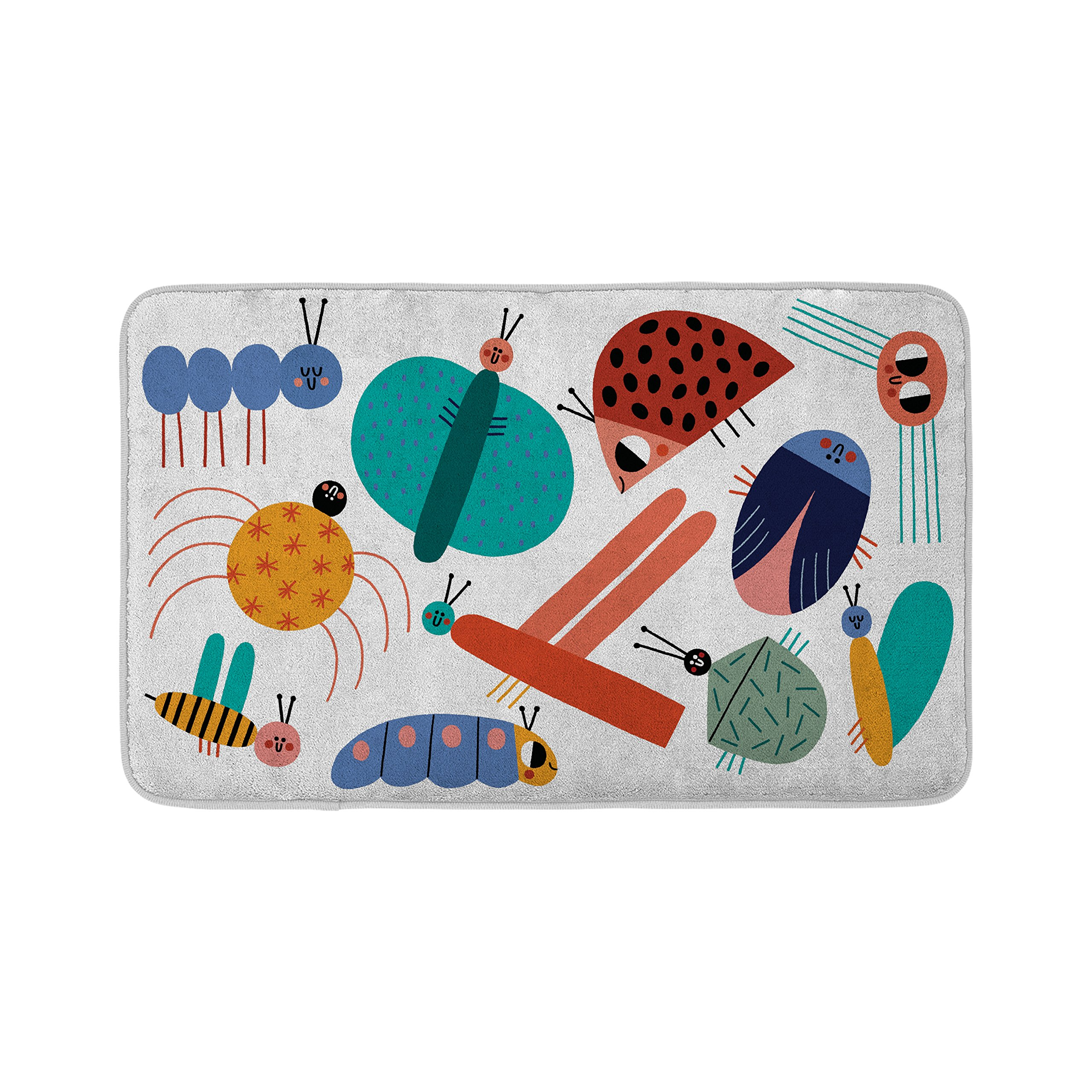 Mouse + Magpie Bath Mat, Skid-Proof, Memory Foam, Soft, Quick-Dry Microfiber, 31''x19'' for Toddler, Kid, Child Bathroom, Little Bugs World by Mouse + Magpie (Image #1)