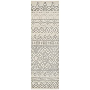 Safavieh Adirondack Collection ADR107B Ivory and Silver Rustic Bohemian Runner (2'6  x 10')