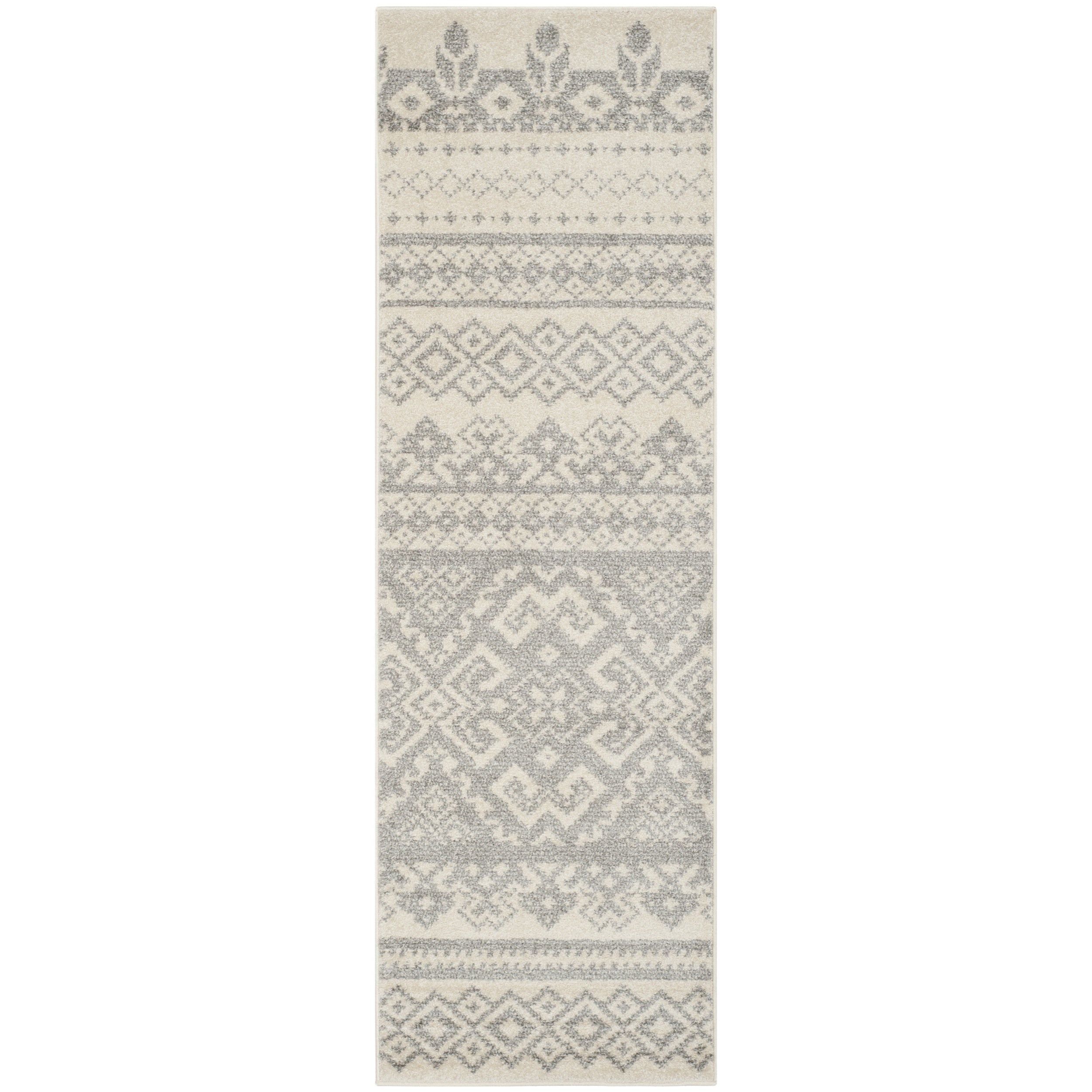 Safavieh Adirondack Collection ADR107B Ivory and Silver Rustic Bohemian Runner (2'6'' x 6')