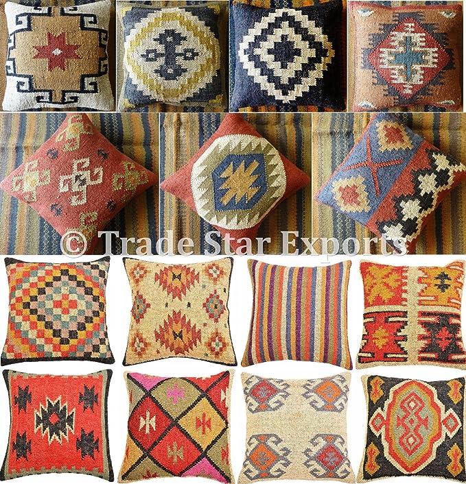4 Set of Indian Jute Kilim Cushion Cover Handwoven Kilim Moroccan Pillows 9015