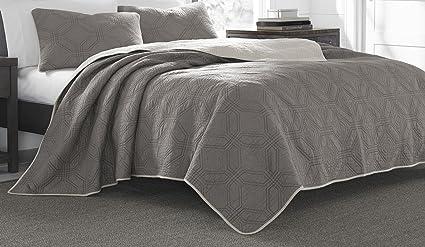 Amazoncom Eddie Bauer 221895 Axis Cotton Quilt Set King Grey Home