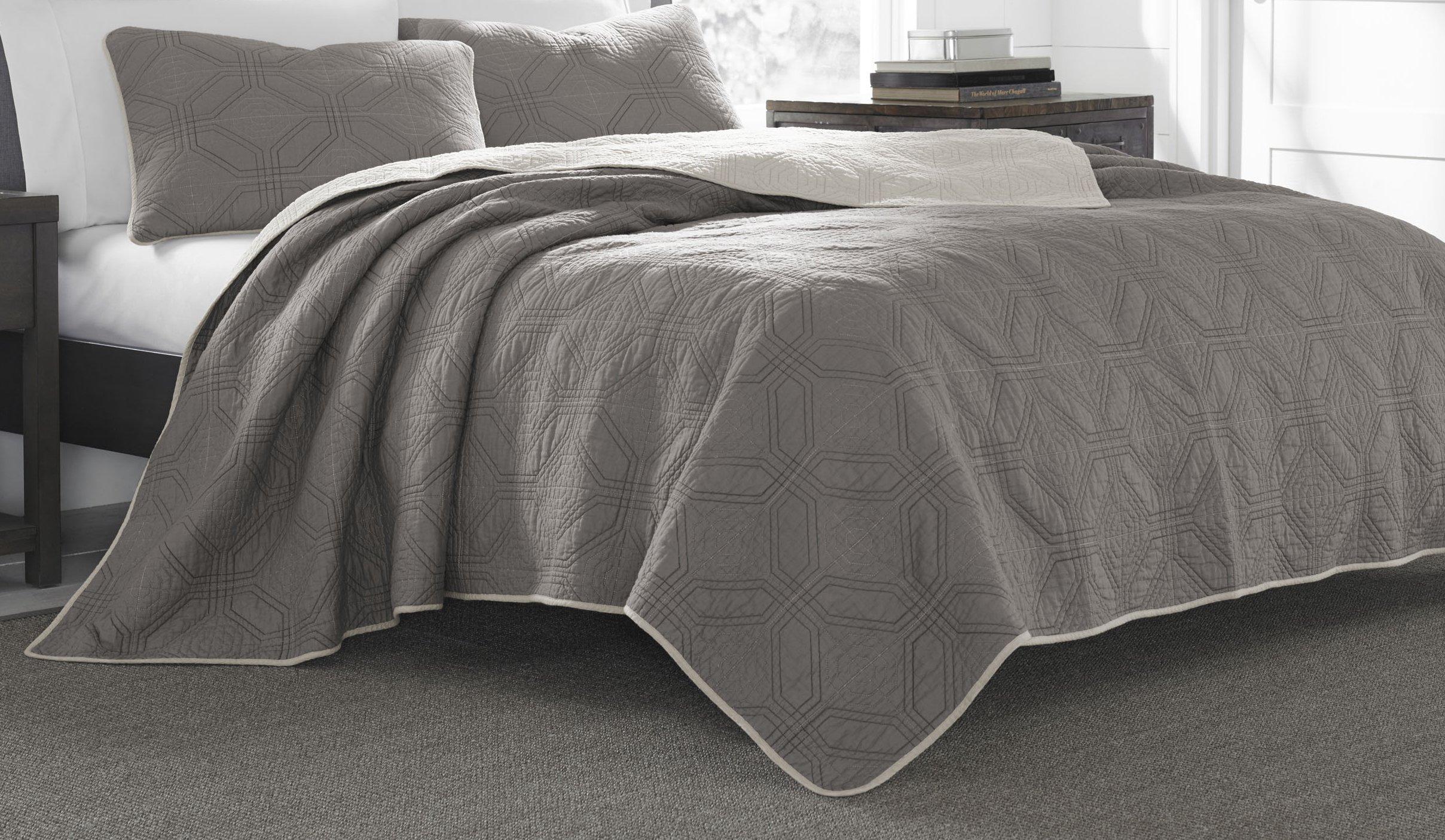 Eddie Bauer Axis Cotton Quilt Set, King, Grey