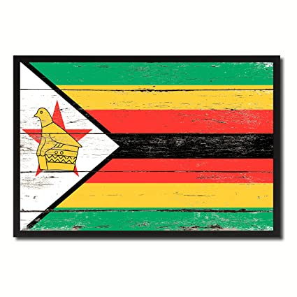 Amazon Com Zimbabwe National Country Flag Shabby Chic Wall Art Home