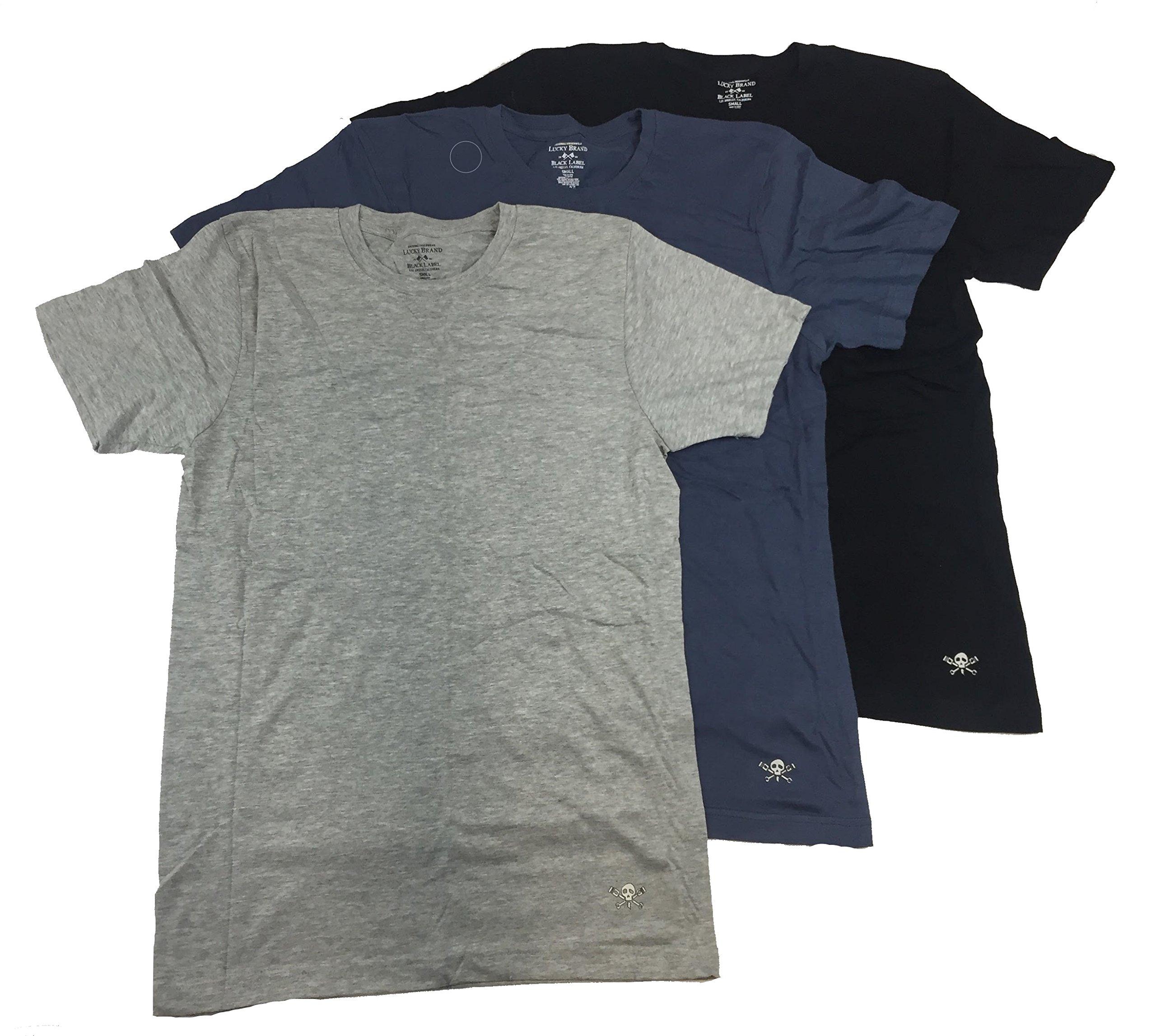 Lucky Brand Men's Three-Pack Crew T-Shirt (Black Label/Blue/Heather Grey, S)