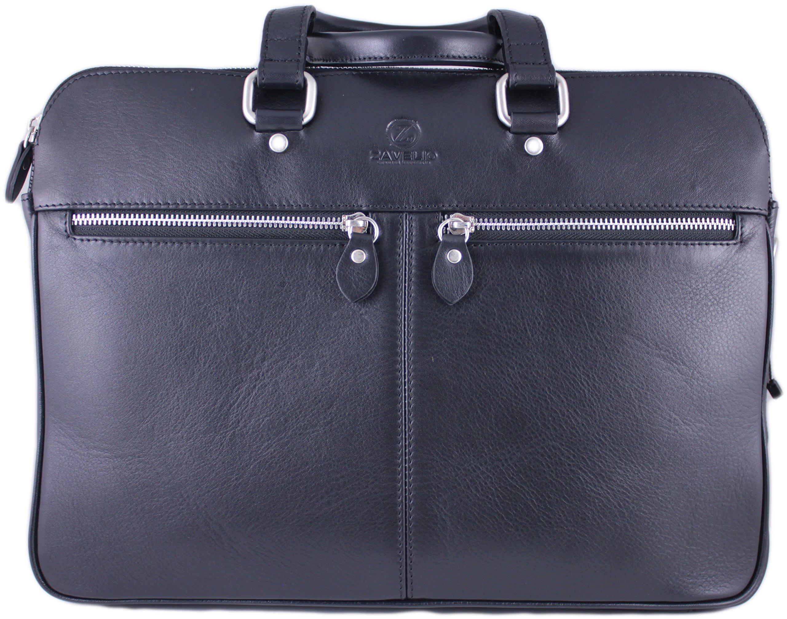 Zavelio Men's David Genuine Leather Business Briefcase Messenger Shoulder Bag Black