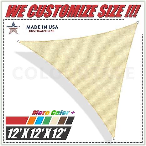 Amazon Com Colourtree 12 X 12 X 12 Beige Sun Shade Sail