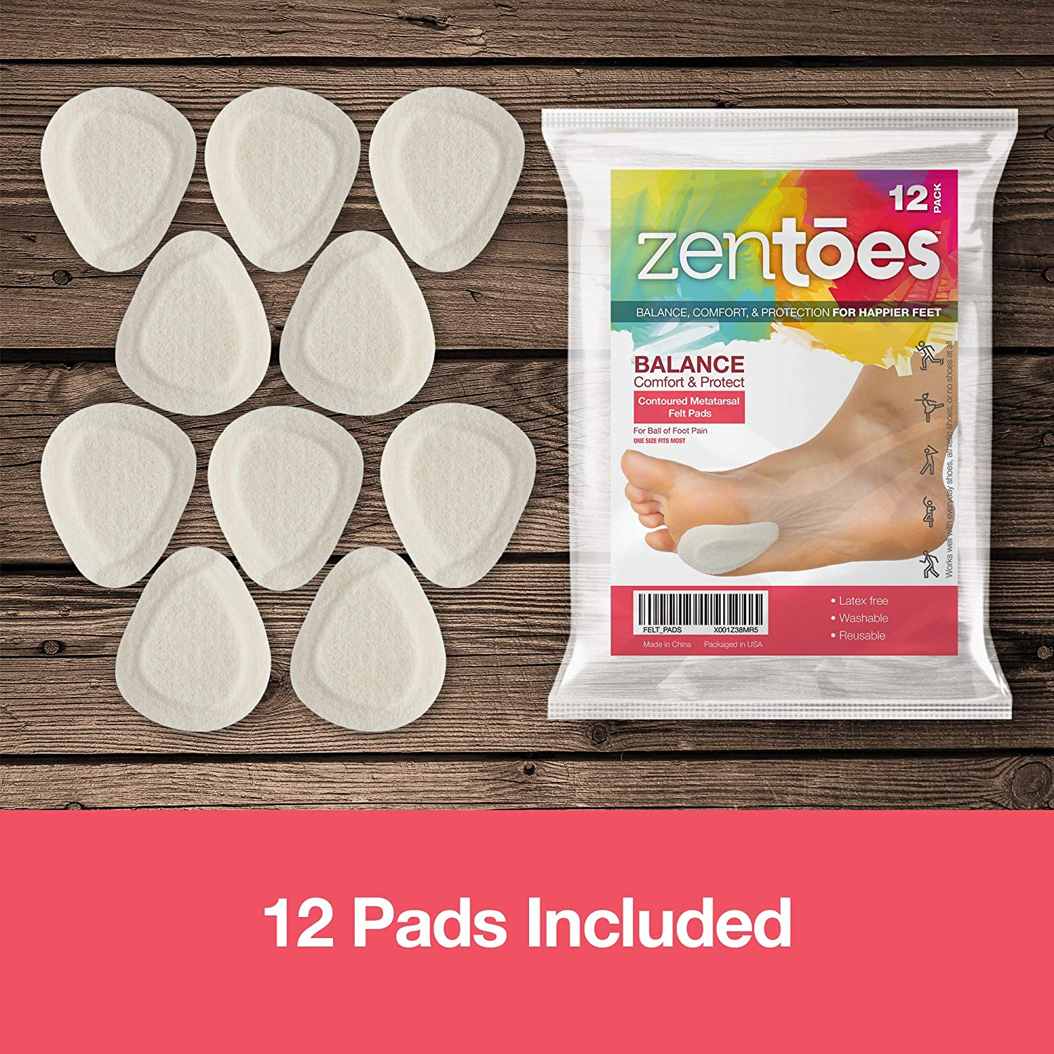 "Adhere to Shoe Insoles or Feet 6 Pair Pack /¼/"" Contoured Adhesive Ball of Foot Cushions ZenToes Metatarsal Felt Pads"