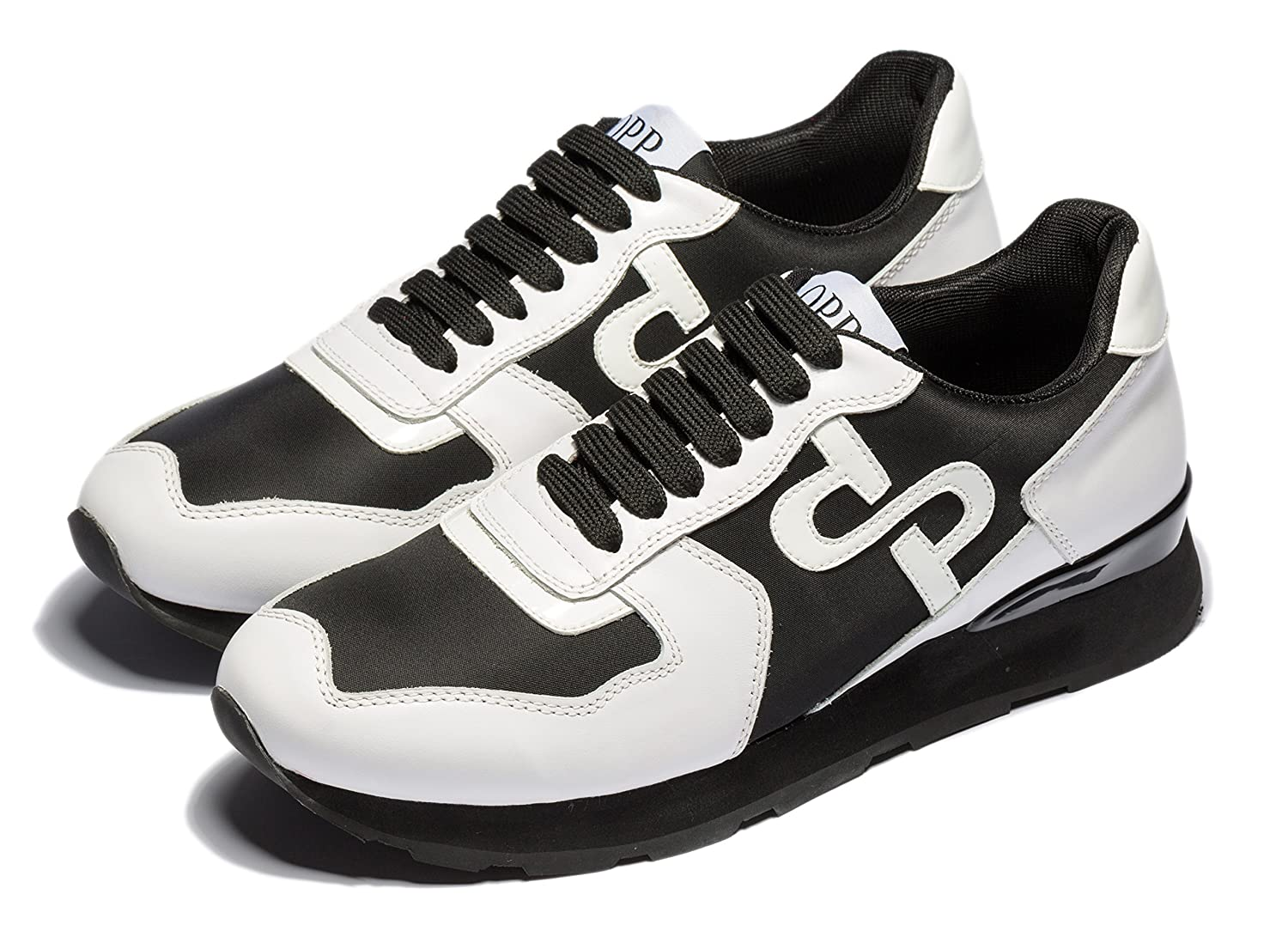 OPP Men's Fashion Lights Leather Sports Sneaker Lace-up Rubber Soft Sole Casual Shoes B07C3TWJBT 8  M US|Black