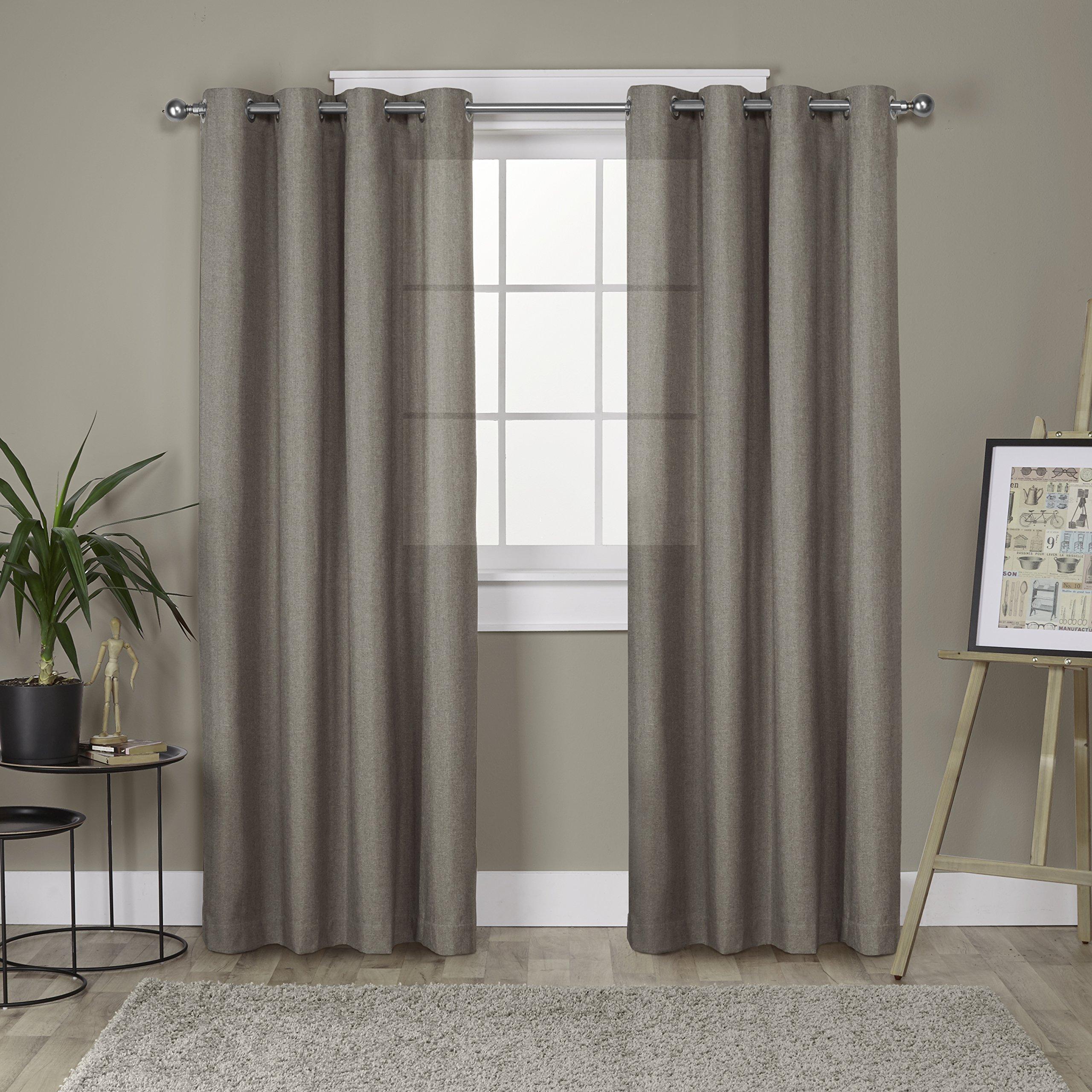 Exclusive Home Curtains Loha Linen Grommet Top Window Curtain Panel Pair, Café, 52x96