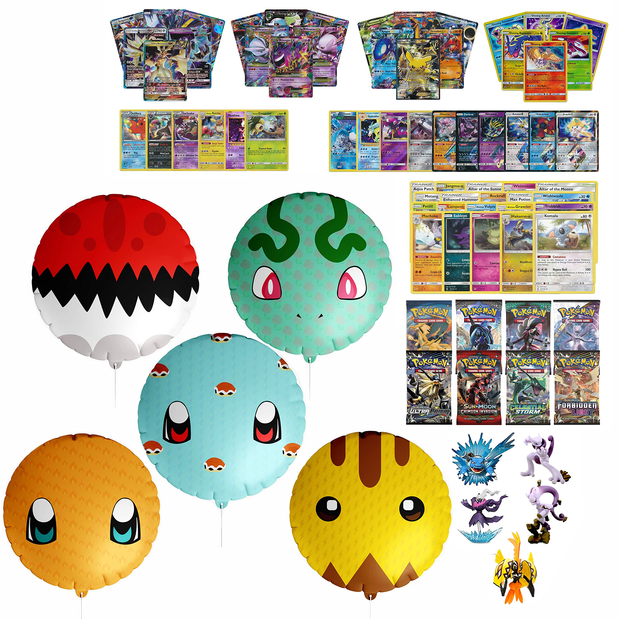 Playoly Pokemon Premium Collection 100 Cards with GX Mega EX Shining Holo 10 Rares 4 Booster Pack- 5 Pokemon Themed Balloons