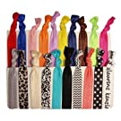 20 No Crease Hair Ties - NEW 20 Pack Prints and Solids Assortment - By Kenz Laurenz