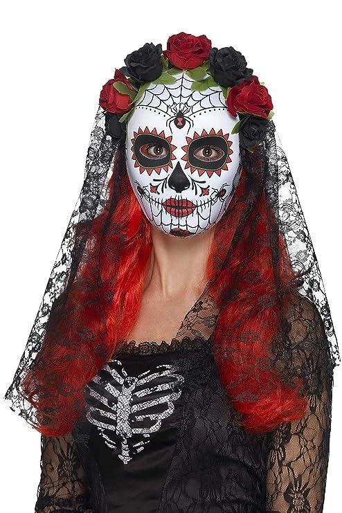 5b18b9793732 Smiffys 44639 Déguisement Femme Masque Señorita Jour des Morts Visage  Complet, Rouge Noir,