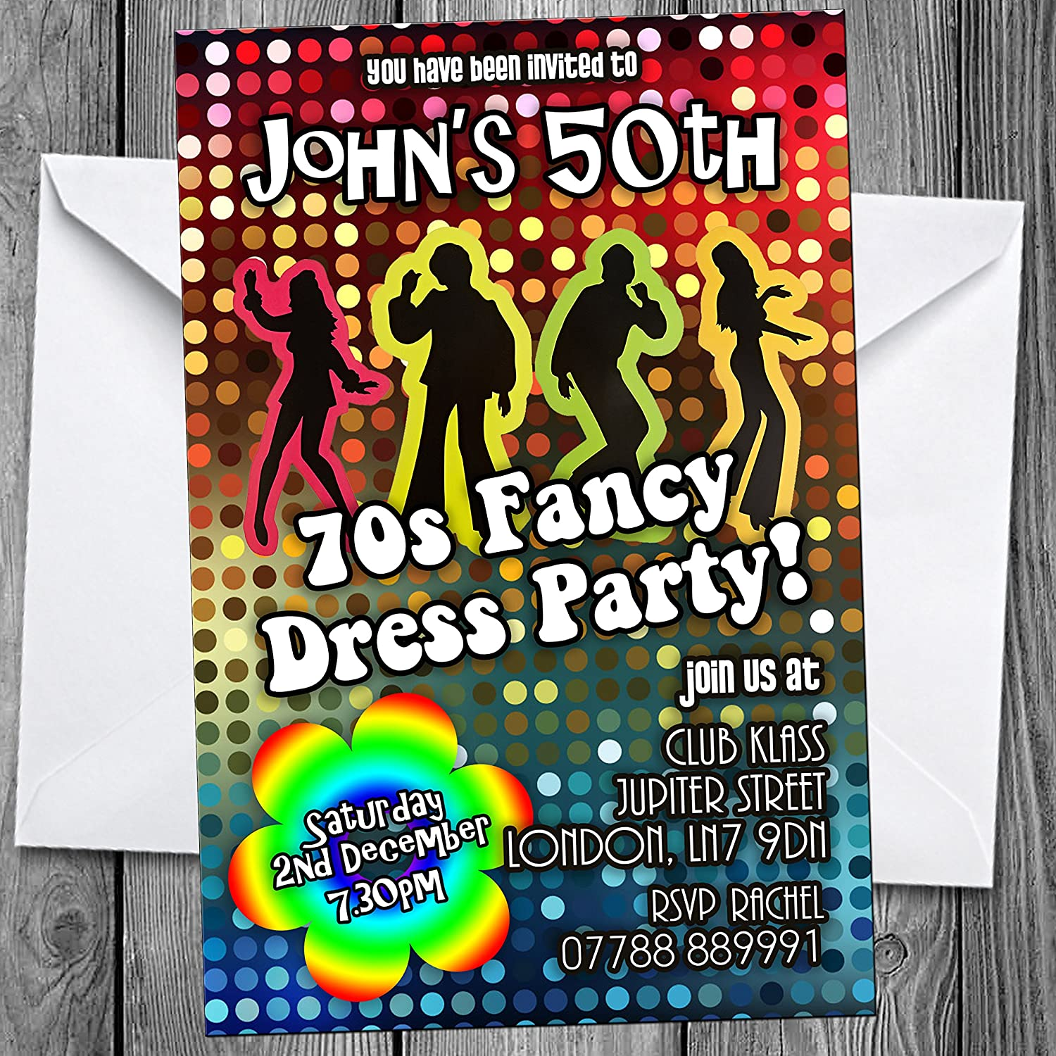 70s 80s Theme Party Invitations Personalised Invites with ...