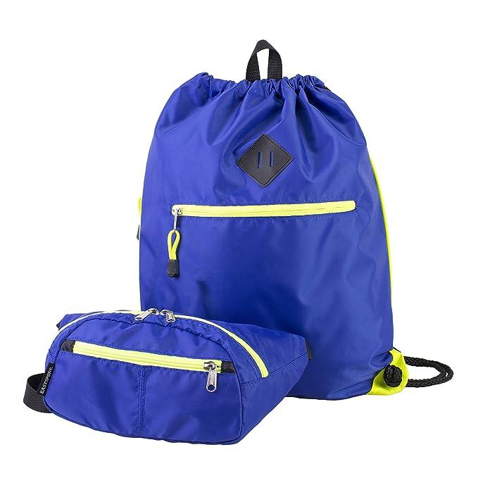 e924c583bd Eastsport Durable Sport Drawstring Bag with BONUS Belt Bag/Fanny Pack for  camp, travel