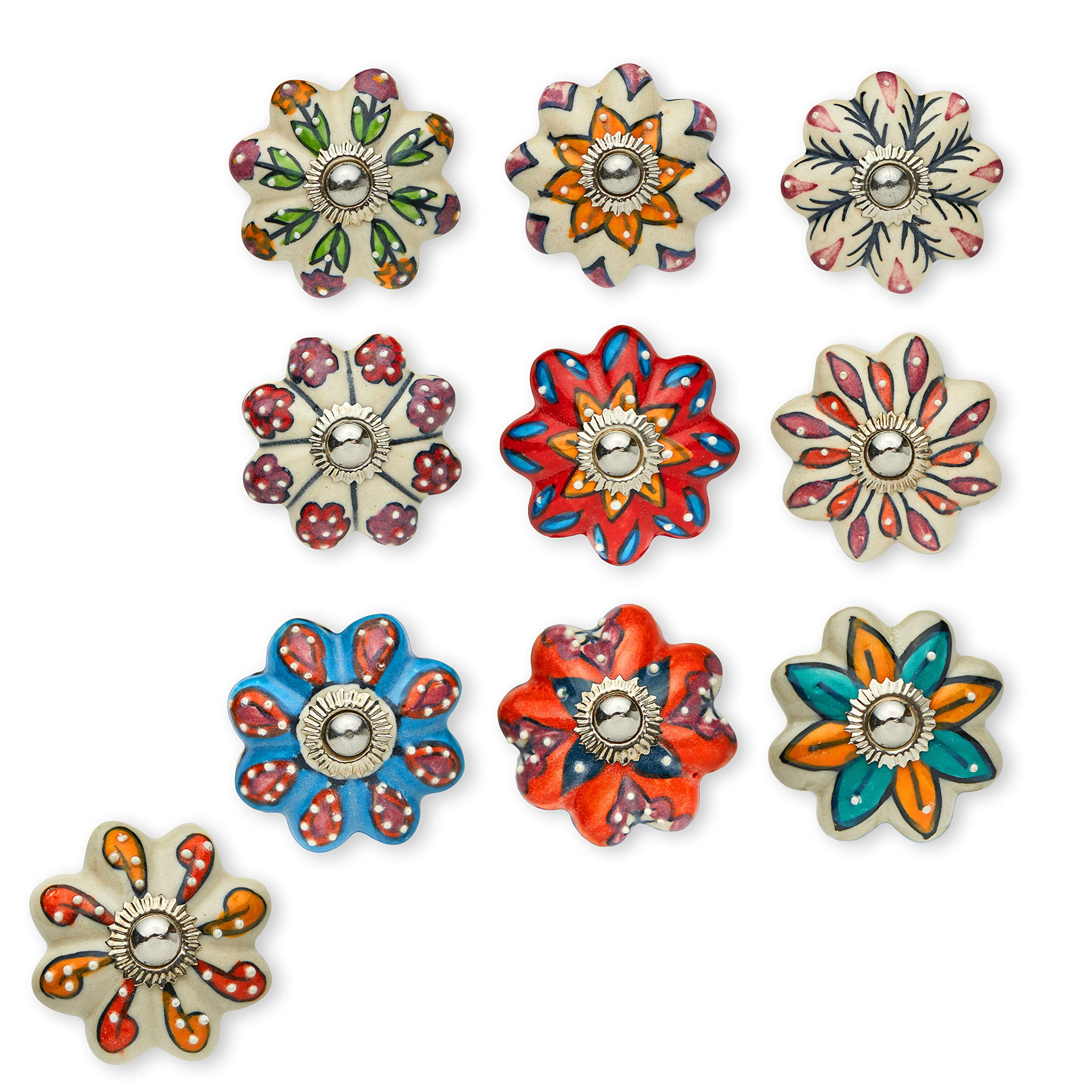 Set of 10 Handmade Flower Knobs   Colorful Multi Design Ceramic Cabinet Knobs   Drawer Pulls Ideal for Any Home, Kitchen or Office   These Drawer Knobs Comes with 1 Wrench, Screw Cap & Bolts