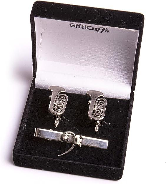 Tuba Gemelos con Bass Clef Clip de corbata en caja de regalo ...
