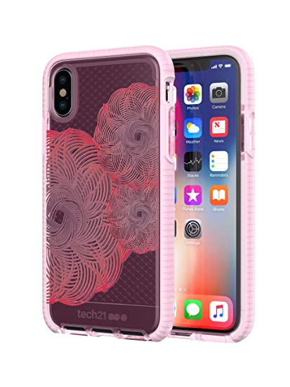 the best attitude 5b859 da0c2 tech21 - Phone Case Compatible with Apple iPhone X - Evo Check Evoke  Edition - Pink/Red