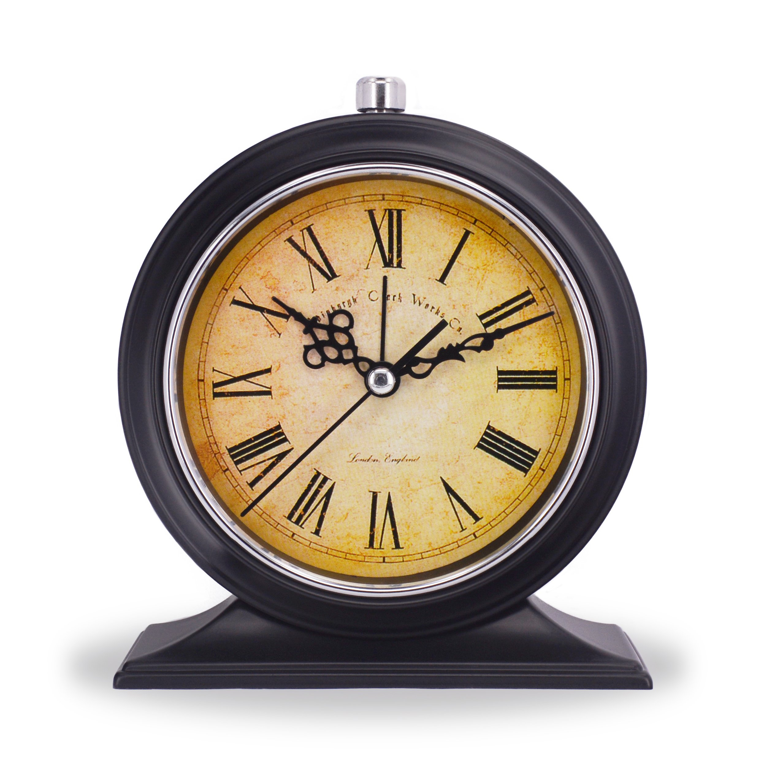 Vintage Hotel Style Retro Old Fashioned Decorative Quiet Non-Ticking Sweep Second Hand, Quartz Analog Desk Clock, for Bedrooms, Battery Operated, Loud Alarm, Nightlight Function (Antique Style)