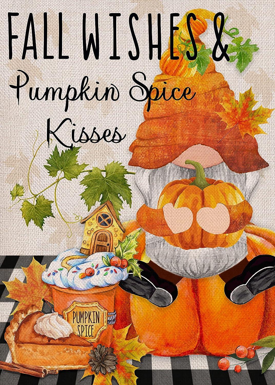 Covido Home Decorative Fall Wishes Pumpkin Spice Kisses Garden Flag, Autumn Gnome House Yard Decor Maple Leaves Dessert Pie Outside Decorations, Buffalo Plaid Check Outdoor Small Burlap Flag 12 x 18