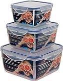 Maturi Airtight Square Food Storage Container Set, Plastic, Set of 3