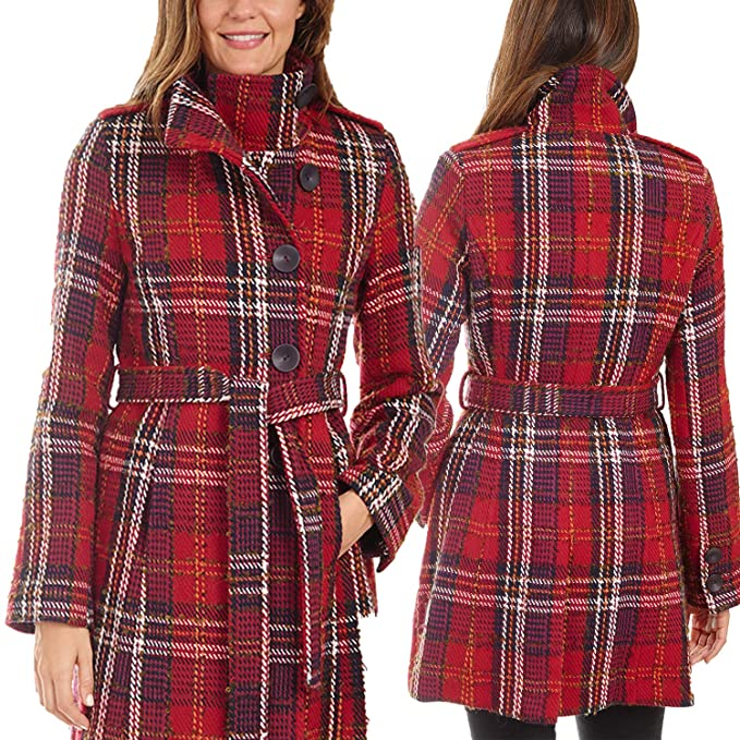 Donatella Long Plaid Wool Coats for Women with Belt and Stand Collar