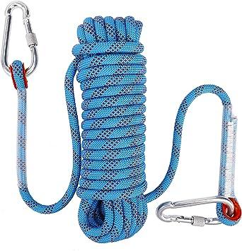 FT-SHOP Cuerda de Escalada al Aire Libre Estática Cuerda Seguridad de Nylon con Mosquetón 10mm Diámetro para Senderismo Espeleología Ingeniería 10M